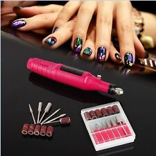 Electric Pen Shape Nail Art Drill File Machine + 6 Bits for Gels Nail Polish