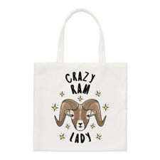 Crazy Ram Lady Stars Small Tote Bag - Funny Animal Shoulder