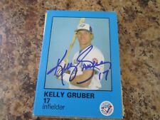 1985 TORONTO BLUE JAYS FIRE SAFETY KELLY GRUBER AUTOGRAPHED CARD