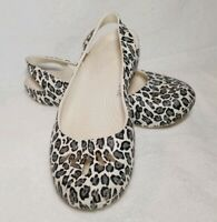 Crocs Mary Jane Leopard Print Size 9 Womens Slip On Comfort Shoes Ballet Flats