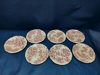 Vintage Taylor Smith & Taylor Pink Dogwood Fairway Set/7 Saucers Circa:1944 USA