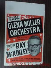 Vintage Glenn Miller Orchestra Ray McKinley Window Card Poster Vg Original 1950s