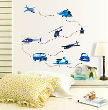 Cartoon Air Plane Car Helicopter Wall Sticker For Kids Children Room Decor