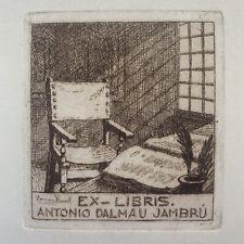 Ramon BORRELL Pla Barcelona Catalonia Exlibris Antonio Dalmau Jambru Etching C3