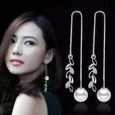 Leaf Pearl Drop Ear Line 925 Sterling Silver Earrings For Women Charm Jewelry