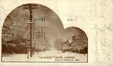 California PA Pennsylvania, Third Avenue Winter Scene, 1906 Vintage Postcard