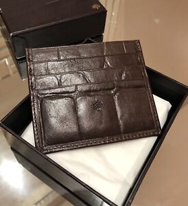 Mulberry Crocodile Embossed Leather Large Congo Brown Card Holder Wallet