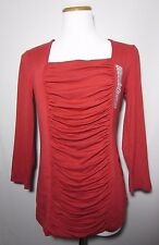 NWT Grace Elements Draped Top Blouse Size M  Red Henna 3/4 Sleeves