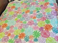 Girls Land of Nod Duvet Comforter Cover, Multi Flower Geometric, Size Twin 65""