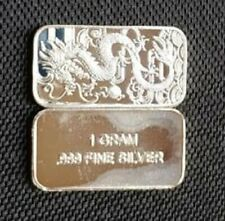 Chinese Dragon 1 Gram 1g Solid Silver Bullion Bar .999 Purity