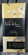 Nicole Miller 4 Yellow Spring Floral Print Napkins 18x18 Easy Care SHIPS FREE