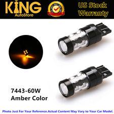 60W Yellow Turn Signal Lights LED 7443 7444NA T20 Bulbs Amber Tail Brake Lamps