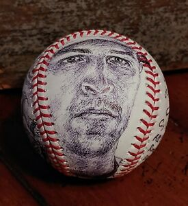 NY Mets JACOB DEGROM original art baseball / artball, 2x CY Young