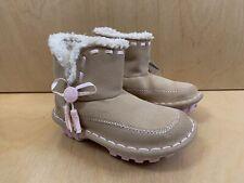 NWT CROCS CROCASALLY Fur Boots Girls Natural/Bubblegum Cream Youth J 1 Authentic