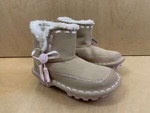 NWT CROCS CROCASALLY Fur Boots Baby Girls Cream C 10 Authentic Winter Shoes