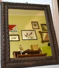 Large Tramp Art /Folk Art Mirror Frame Hand Crafted Wood Frame - 22.4''