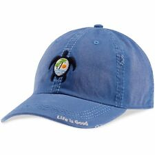 Life is Good. Sunwashed Chill cap: Sea Turtle Scene - Vintage Blue