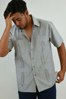 Mens Bohio Cotton Gray Cuban Guayabera Classic 4-Pkt Shirt (S ~4X)- MTCG1510