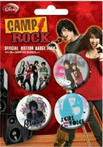 DISNEY CAMP ROCK 2 - BADGE PACK - PACK OF 4 X 38MM BADGES - BRAND NEW  by Pyrami