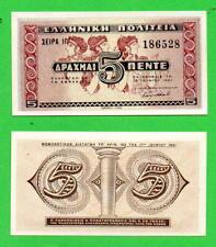 Greece 5 Drachmai 1941 UNC Greek banknote Fresco & Column of Ancient Knossos, V5