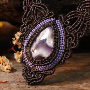 Macrame Choker Necklace pendant handmade Amethyst, Waxed cord, Bohemian