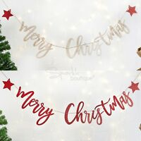 MERRY CHRISTMAS BUNTING -Wood or Glitter Card Garland / Banner / Xmas Decoration