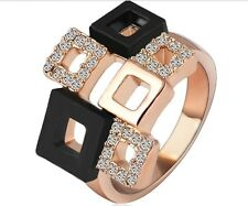 18K Rose Gold Plated Cubic Zirconia Size 9 Square Cocktail Ring Jewllery