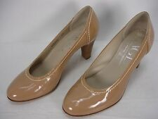 AGL ATTILIO GIUSTI LEOMBRUNI NUDE PATENT LEATHER STITCHES PUMPS SHOES WOMEN'S 40