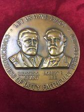 """Civil war Centennial Commision 1961-1965 """"Let us have peace"""" Bronze medallion"""