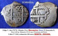 FELIPE V. Año 1737 E. 2 Reales Plata. Macuquina. Potosí P. 6,09 gr. 23- 24 mm.