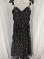 Vintage Rockabilly Mike Benet Formals Black and Red Polka Dot Tule Overlay Dress
