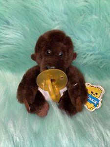 1986 DAKIN Tiny GOO GOO #312040 Gorilla Plush Baby Monkey Tag Pacifier & Diaper