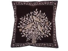 Dark Brown Tree of Life Dabka Embroidery Pillow Cover Couch Sofa Throw Cushion