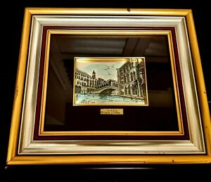 Vintage Limited Sterling Silver 925 Foil Painting Art Hand Signed Venice Italy