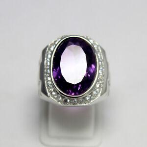 Amethyst Oval Gemstone 925 Sterling Silver Men's Designer Band Heavy Ring