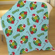 Grinch Christmas Coral Fleece Blanket Boys Girls 100cm X 150cm