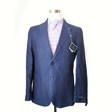 TAILORBYRD Blazer Size 40R Half Lined Navy Blue 100% Linen Two Button Double Ven