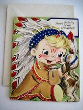 Vintage Grandson Birthday Card w/ Picture of Boy Dressed as Indian w/ Puppy *