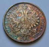 Austria Empire 1892 Silver 1 Florin Coin KM#2222 ** Rainbow Toned KEY DATE
