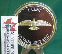 2017 Canada Centennial Colville PENNY w Dove logo : 5 oz. 99.99% silver w gold