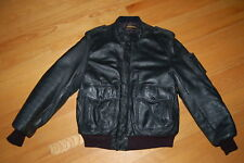 Vintage 80s YAMAHA All Black Leather HOG Motorcycle CAFE RACER Jacket Size 44