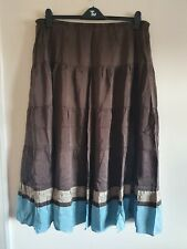 Ladies Brown And Blue Elasticated Waist Maxi Skirt From Boden Size 20 L
