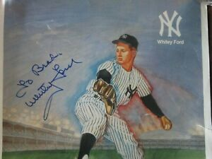 WHITEY FORD Autograph NEW YORK YANKEES Vintage Citgo Sale Ad 1989 Poor Condition