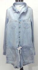 HOLLISTER Denim Romper L/S Top and Shorts Light Blue Jean 1 Piece Women's S $79