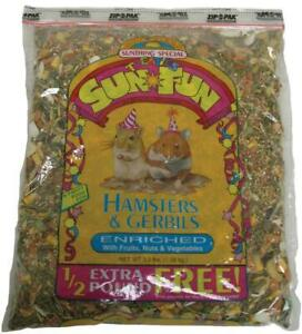 Sunseed Sun Fun Enriched Hamster & Gerbil Formula Food, 3.5 Pound Bag