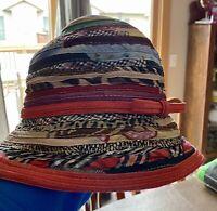 Vintage Daniel Meucci Woven Ladies Hat, Short Brim and FoldableMulti colored