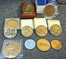 LOT SET COLLECTION of 10 LARGE SIZE MEDALS w/ BOX & STANDS, BIG SO-CALLED MEDALS