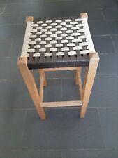 VINTAGE HARDWOOD STOOL WITH WEB SEAT NICE DESIGN, SEAT 30X30cm, 69cm TALL