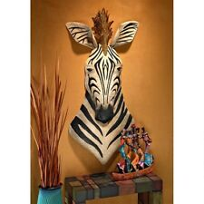 Exotic African Safari Zebra Ebony & Ivory Metal Wall Sculpture