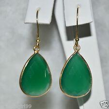 Genuine Pear Faceted Green Onyx Dangle Earrings 925 Sterling Silver 14k Gold